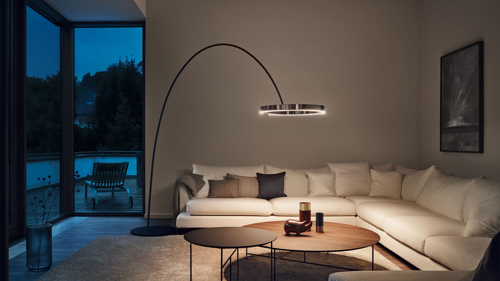 LED Design Bogenlampe Mito largo modern